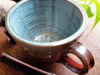 Large Wet Shaving Lather Mug Bowl with Handle in Green Iron Red