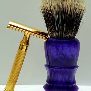 Homemade purple brush handle with 22mm TGN Finest Banded Badger knot