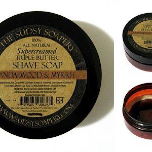 The Sudsy Soapery Sandalwood & Myrrh Shave Soap