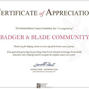Badger And Blade Certificate Of Appreciation From NBCF